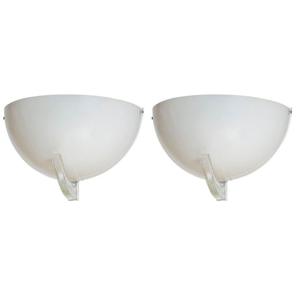 Pair of  Sconces in White Milk color Murano Glass Attributed 1960s Italy