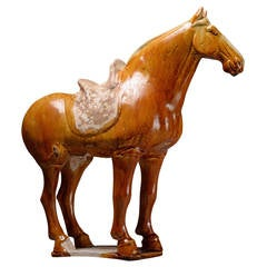 Ancient Chinese Tang Dynasty Pottery Standing Horse, 618 AD