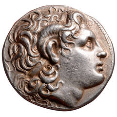 Ancient Greek Silver Alexander the Great Tetradrachm Coin of Lysimachos