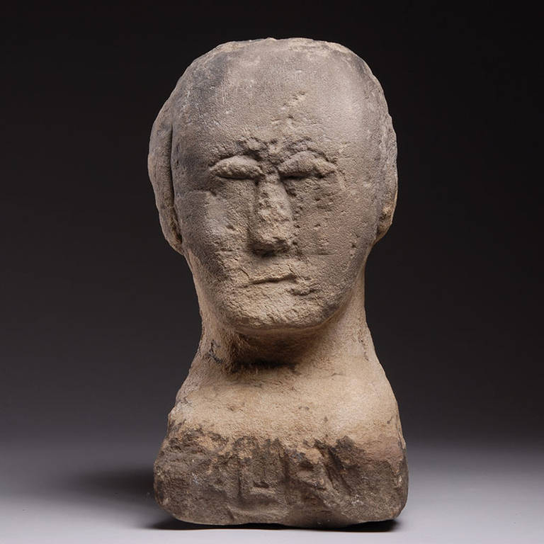 Ancient british iron age celtic stone carving of a human