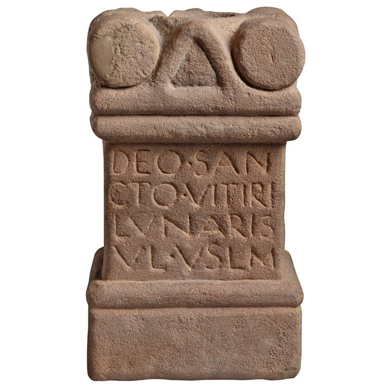 Ancient roman stone carving votive altar for the god