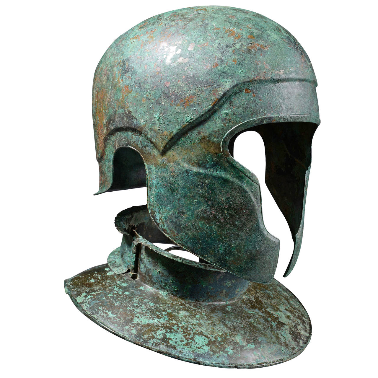 Ancient Bronze Samnite Helmet And Neckguard 450 Bc At 1stdibs