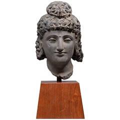 Gandharan Schist Stone Head of Maitreya, Buddha of the Future, 250 AD