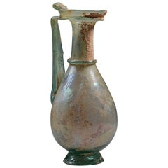Elegant Ancient Roman Green Glass Jug - 2nd Century AD