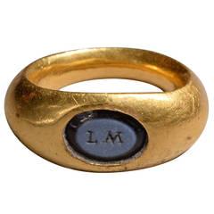 Ancient Roman Gold Nicolo Intaglio Ring with Inscription
