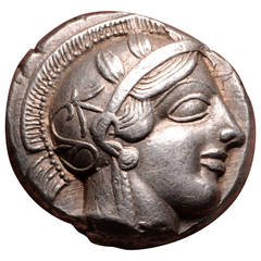Superb Ancient Greek Silver Owl Tetradrachm Coin, Athens, 454 BC