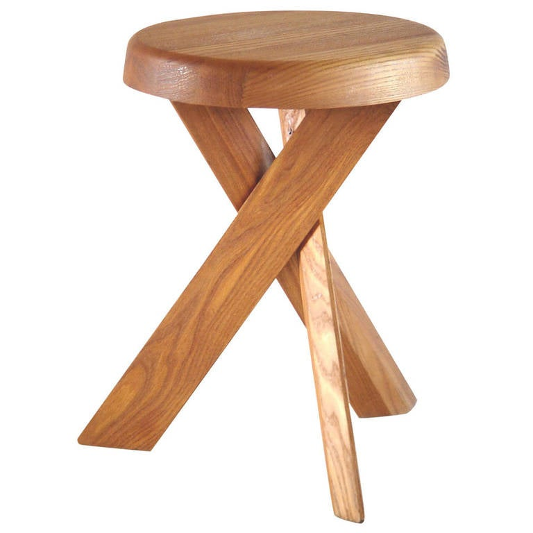 Tabouret chairs round table - Tabouret Rond Bas S31a By Pierre Chapo At 1stdibs