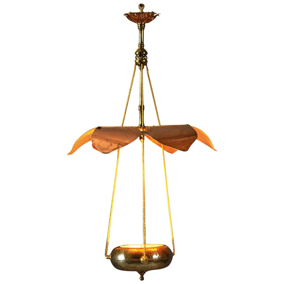 Chandelier arts and craft by william benson for sale at for Arts and crafts chandelier