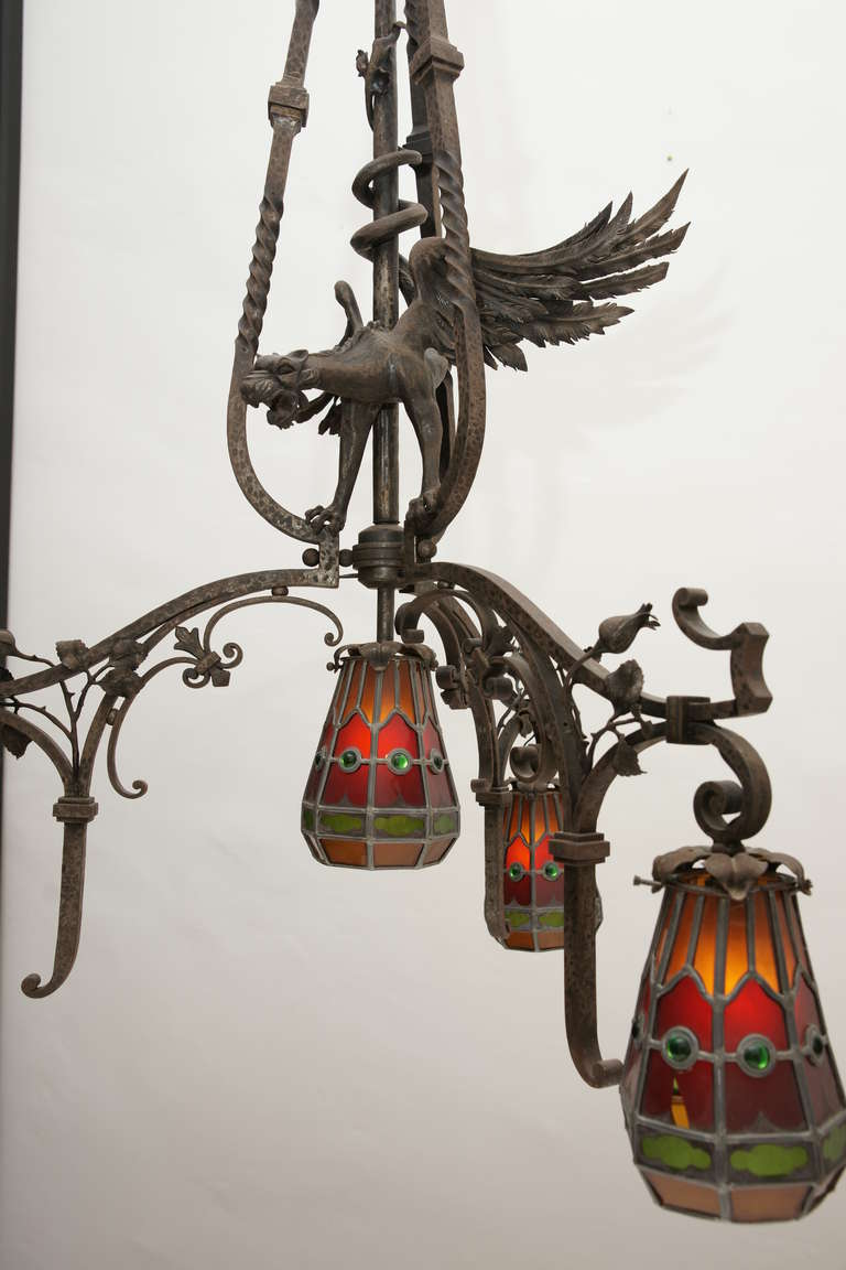 Maroello and Guaita Chandelier with a Fantastic Dragon at