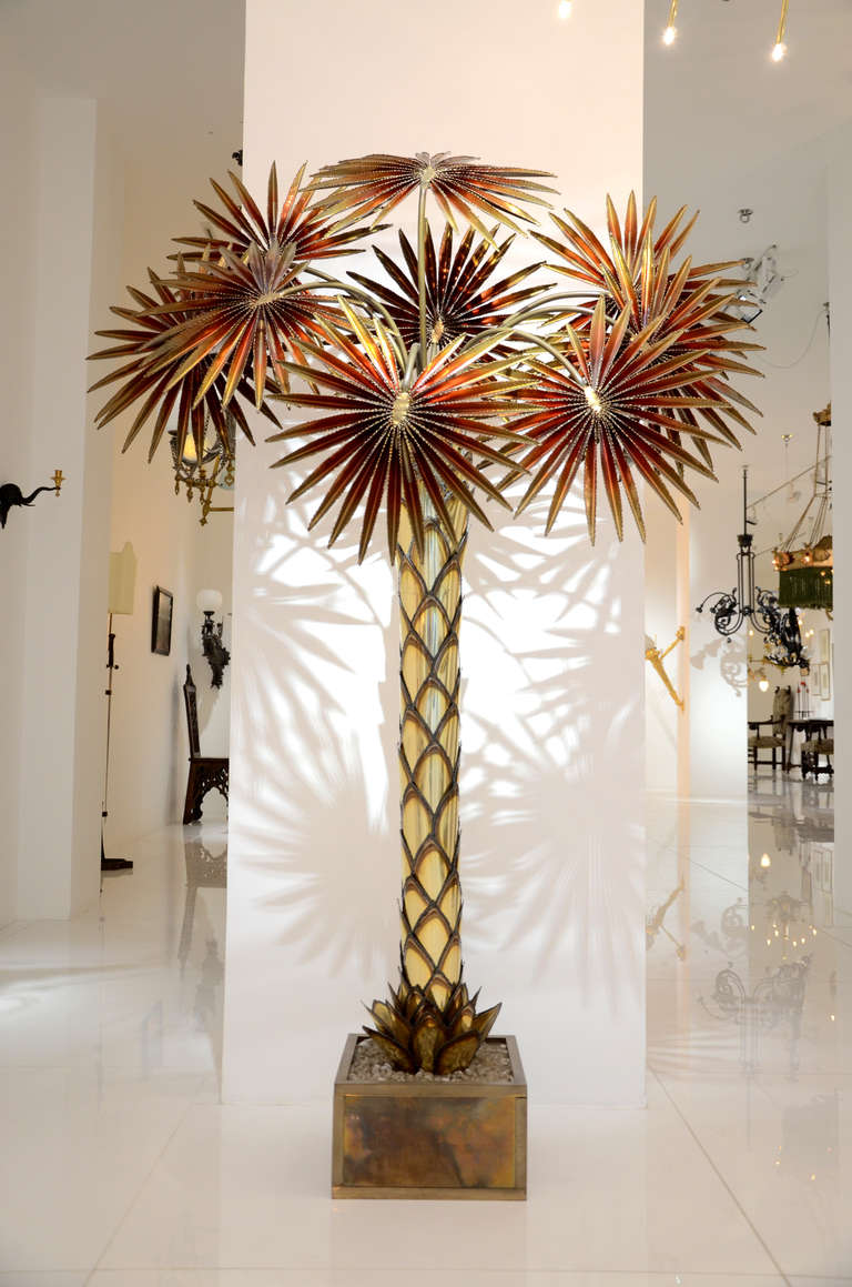 Gilded Metal Floor Lamp Representing A Red Palm Tree Composed Of Nine Leaves Which Hide