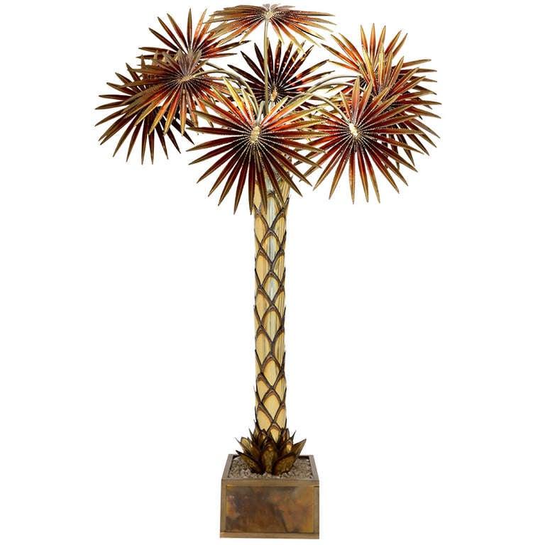 maison jansen palm tree floor lamp at 1stdibs. Black Bedroom Furniture Sets. Home Design Ideas