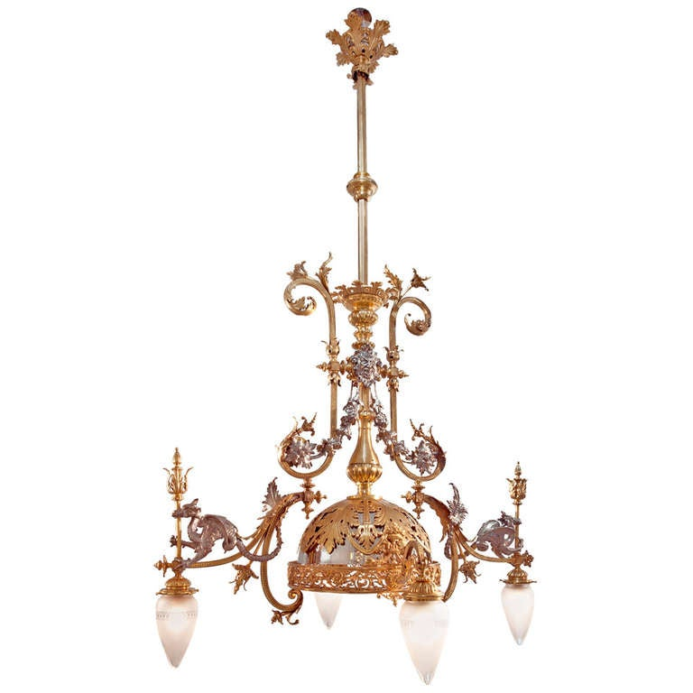 Maison Eugene Potron Chandelier Decorated with Dragons
