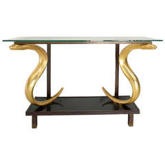 Luminous Console Table with Cobras Attributed to Alain Chervet
