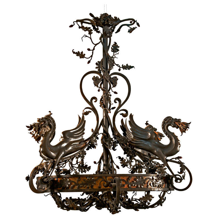 Chandelier Decorated with Dragons For Sale at 1stdibs