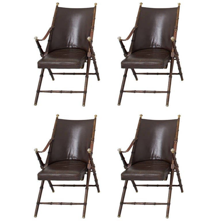 Four Folding Chairs By Maison Jansen Circa 1960 For Sale