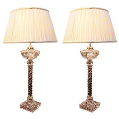 Pair of Baccarat Crystal Rope Twist Lamps