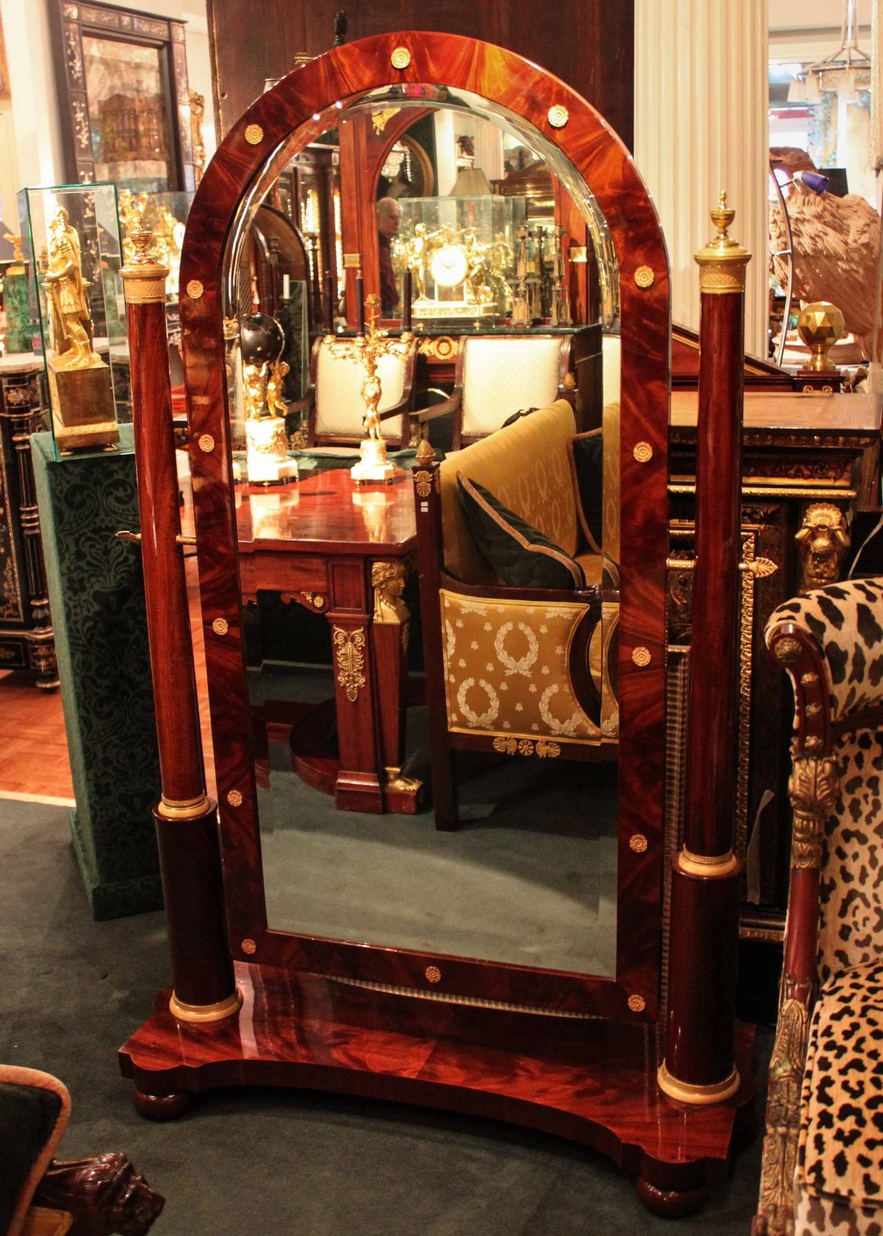 Veneer French Empire Cheval Mirror For Sale