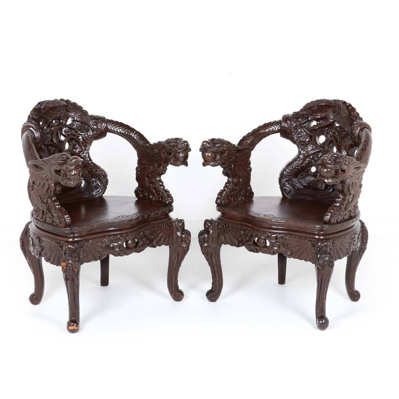 Pair of chinese carved mahogany chairs at 1stdibs for Oriental furniture vancouver