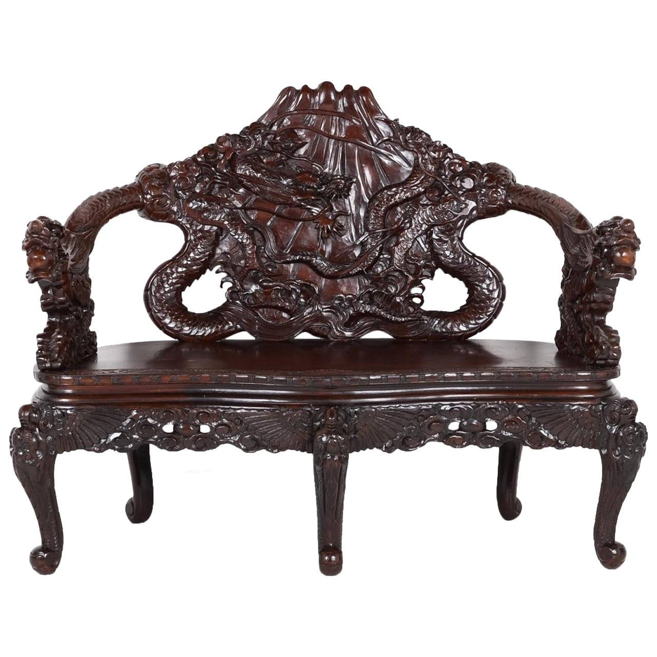 Chinese Carved Mahogany Settee At 1stdibs
