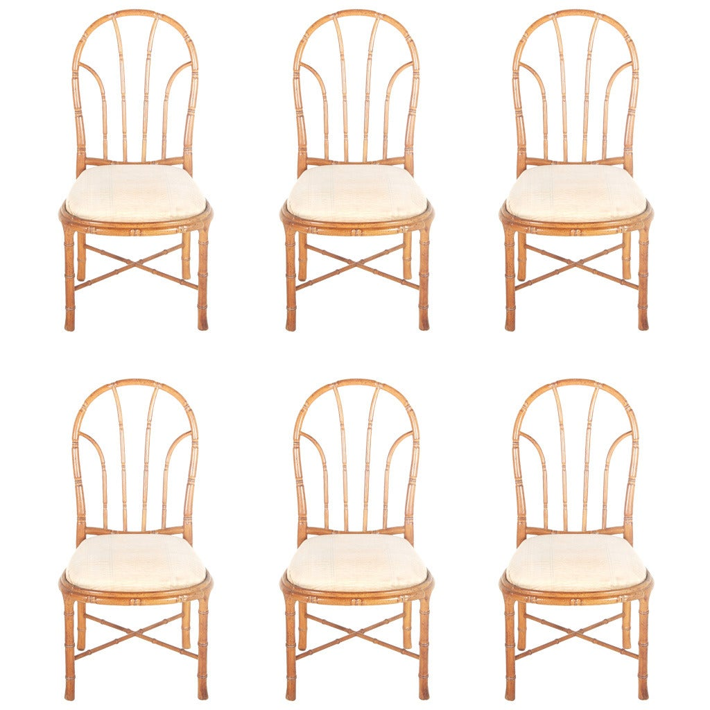 Bamboo Dining Room Chairs: Bamboo Style Dining Chairs, Set Of Six At 1stdibs