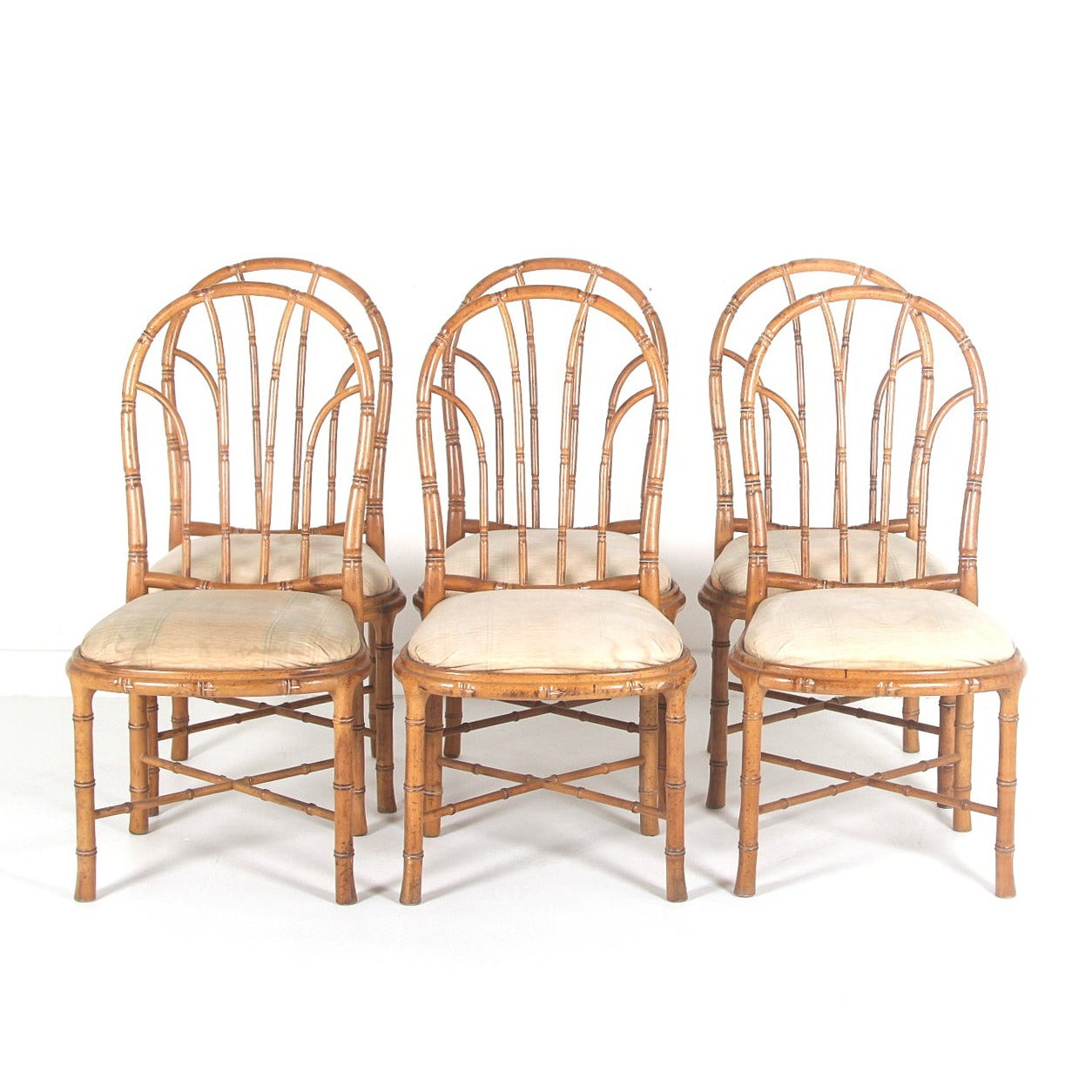 Bamboo Style Dining Chairs, Set Of Six At 1stdibs