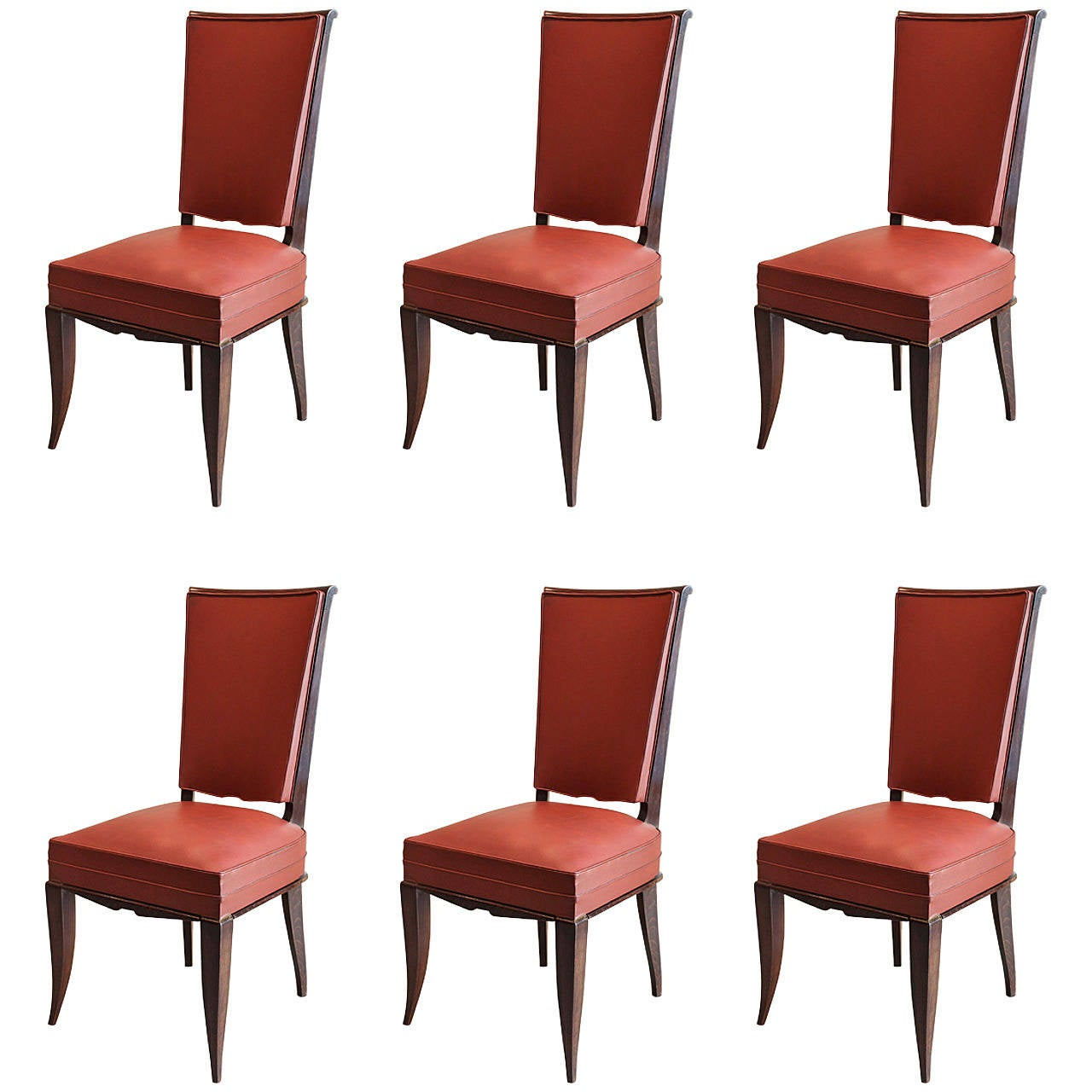 Set of six art deco dining chairs for sale at 1stdibs for Art dining room furniture