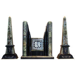 Art Deco Egyptian Revival Clock and Obelisks by ATO