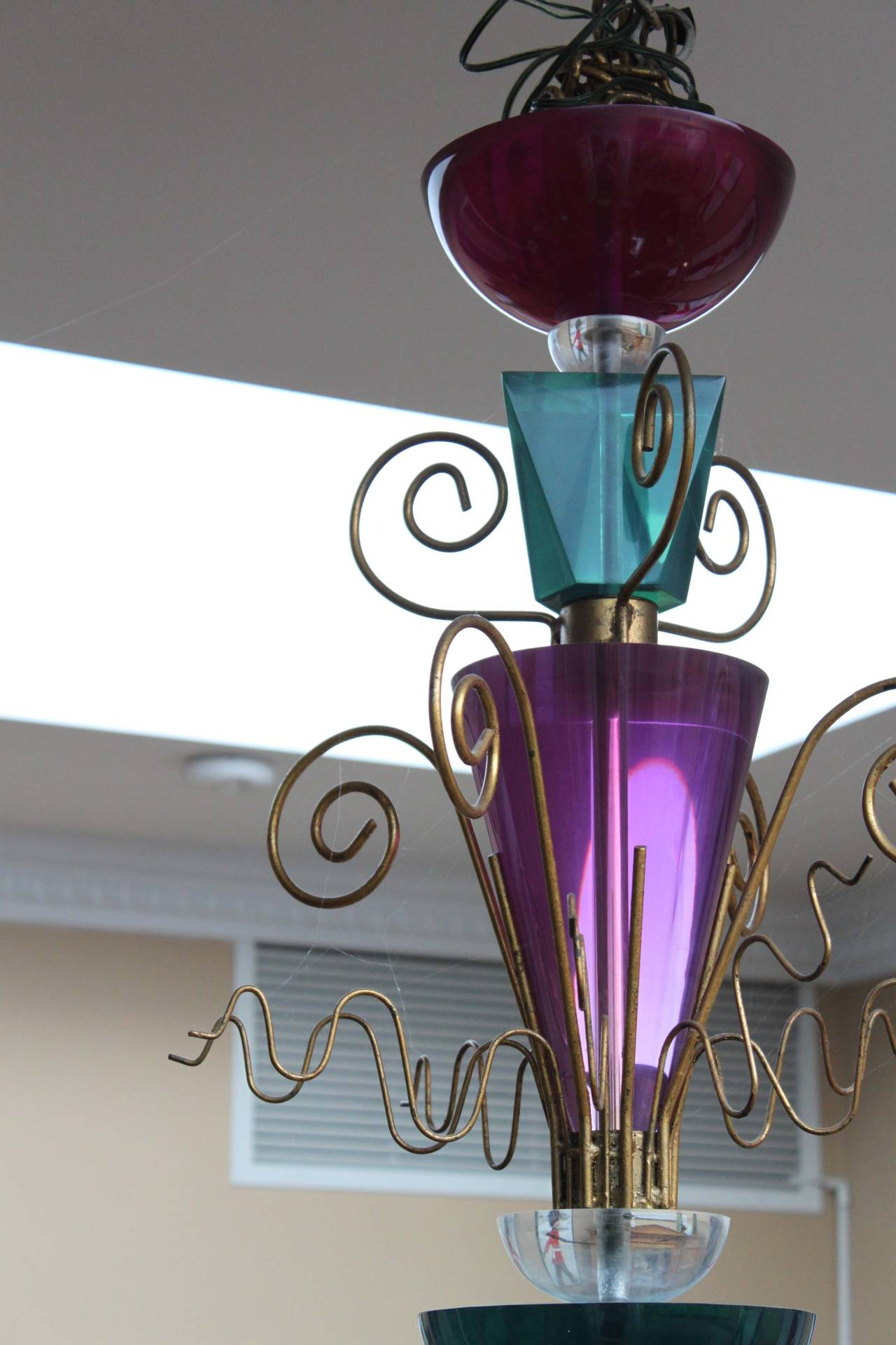 Unusual Lucite Pendant Light Fixture Attributed to Van Teal For