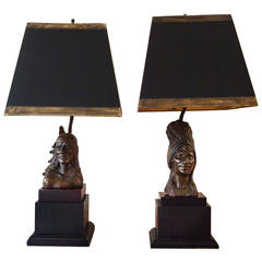 Pair of Bronze Figural Lamps by Bernard Kim
