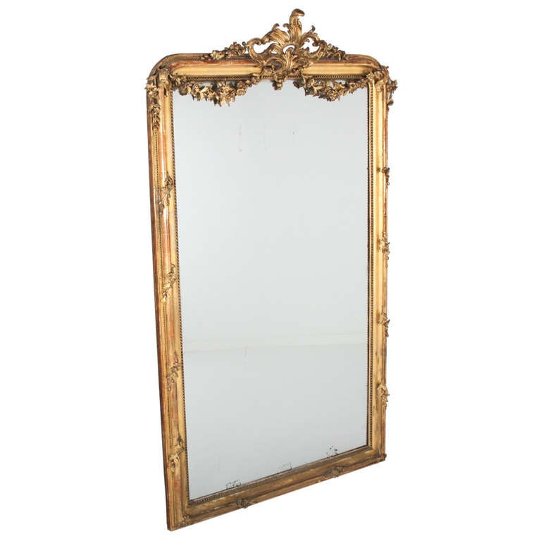 Large french giltwood mirror at 1stdibs for Vintage floor length mirror