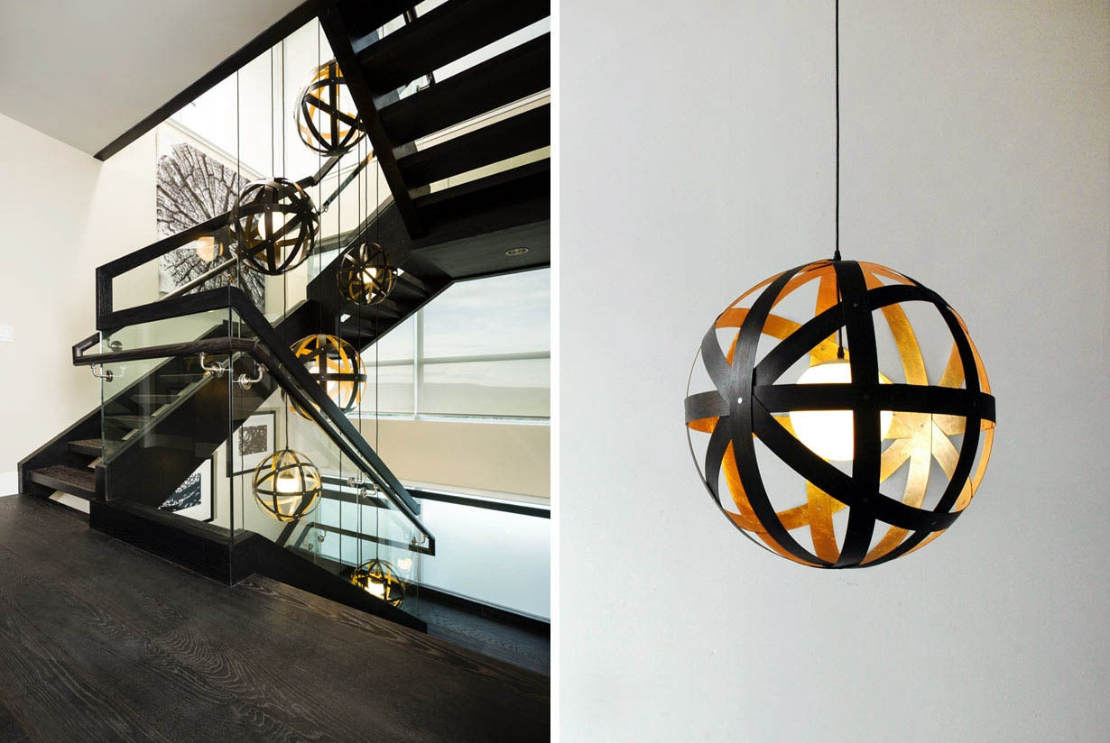 Modern Meridian 24 Black Stained Walnut and Gold Leaf Pendant For Sale