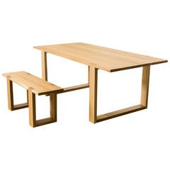 """""""Thru"""" Oak Dining Table and Bench"""