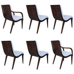 Jean Pascaud Dining Chairs, Set of Six