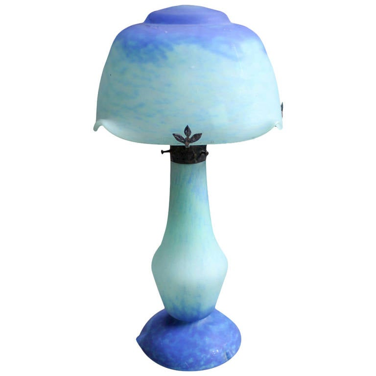 Glass Table Lamp, Signed Daum