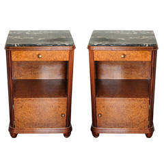 Pair of Burled Walnut Side Tables