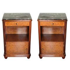 Burled Walnut Side Tables, Pair