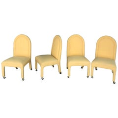 Set of Four Indoor or Outdoor Dining Chairs in Yellow Sunbrella Fabric