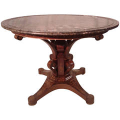 Superb Gueridon from King Charles X Period with a Beautiful Marble Top