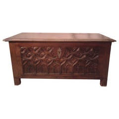 18th Century Carved Trunk in Walnut Wood