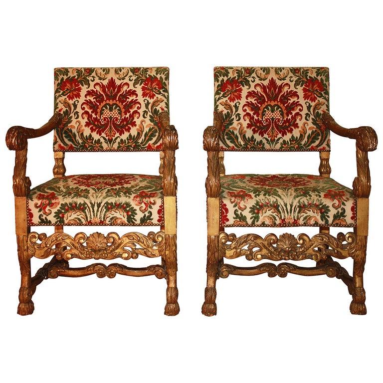 18th Century Italian Giltwood Armchairs For Sale