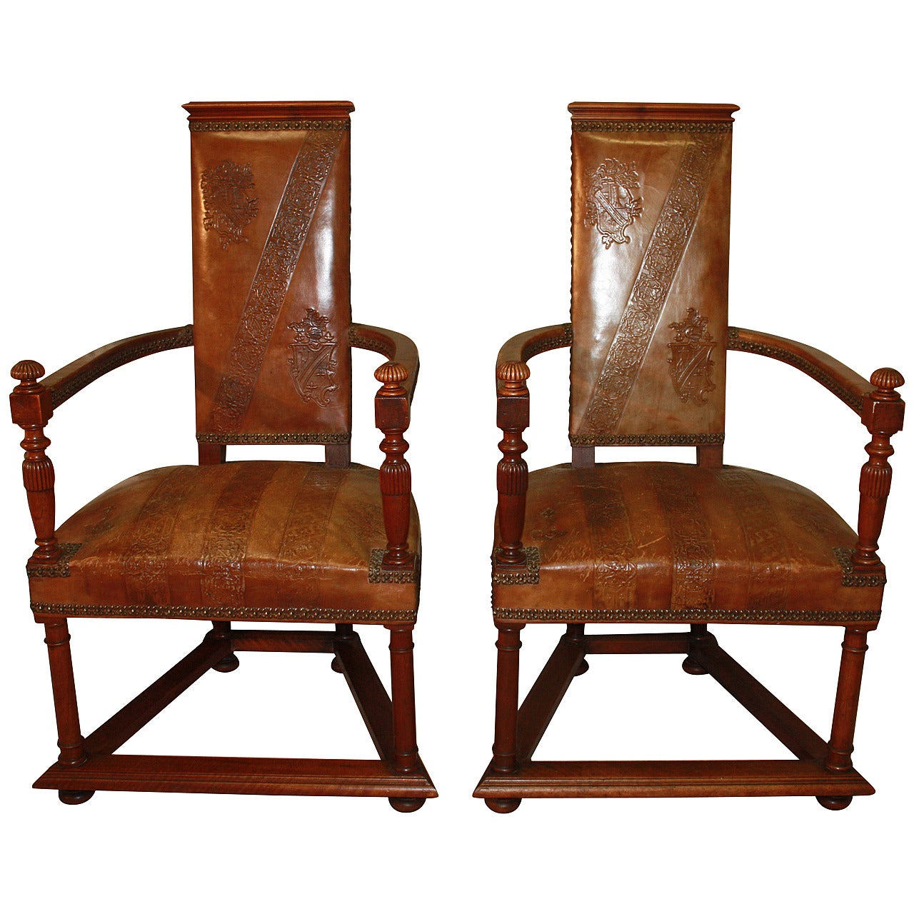 Exceptional Pair of 19th Century French Leather Chairs
