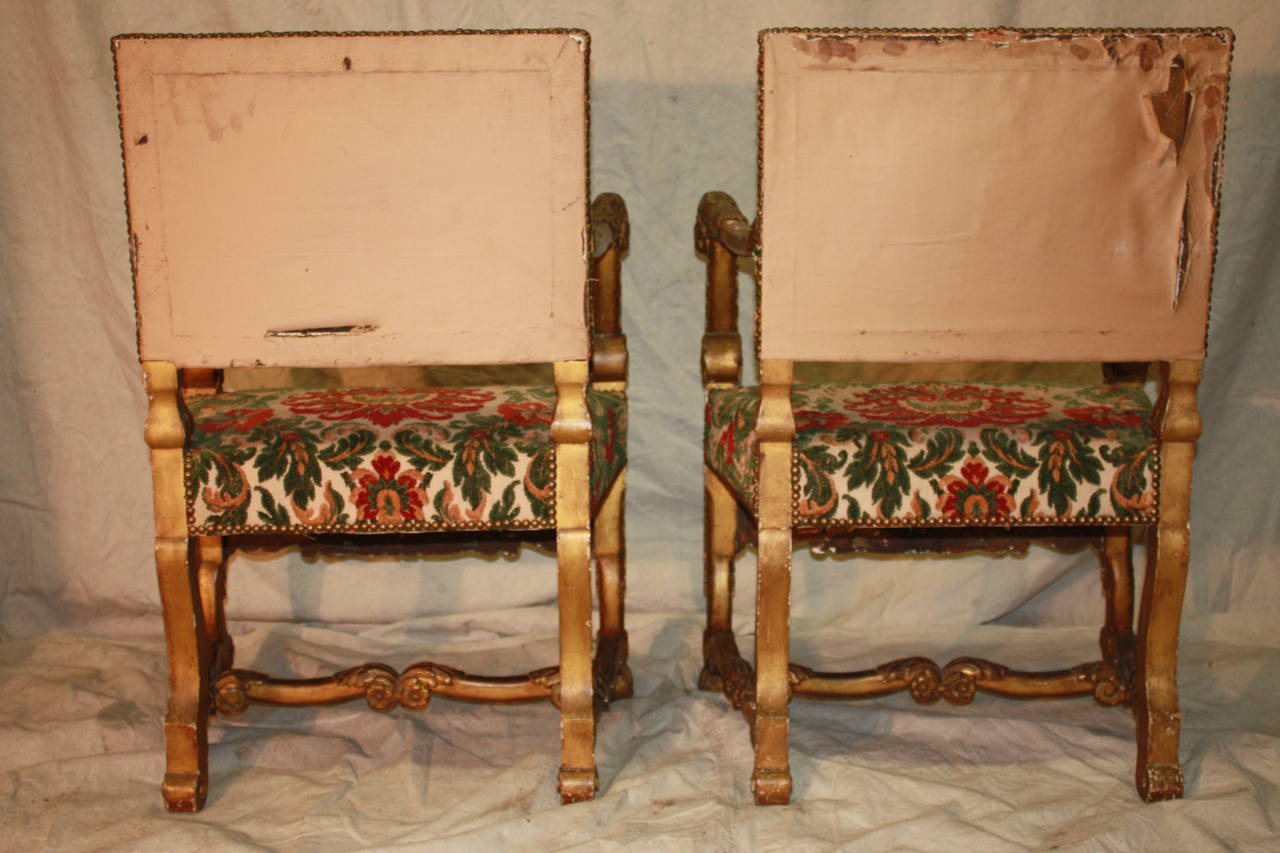18th Century Italian Giltwood Armchairs For Sale 2