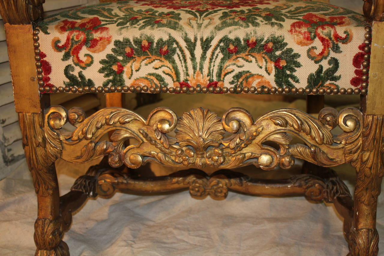 18th Century Italian Giltwood Armchairs In Excellent Condition For Sale In Atlanta, GA