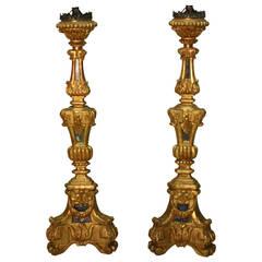 18th Century Italian Giltwood Candlesticks