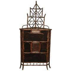 19th Century Chinoiserie Bamboo Corner Cabinet