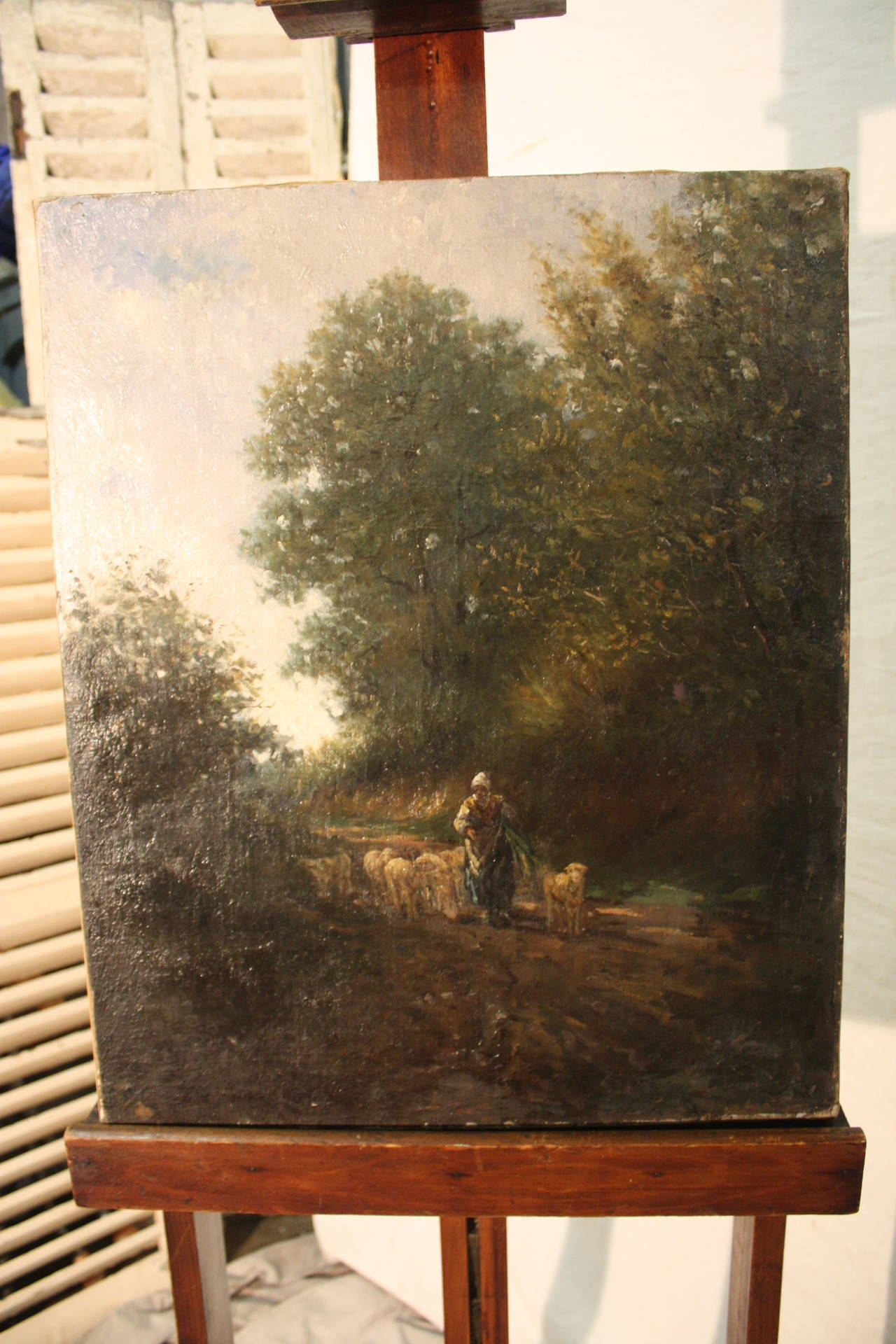 Veneer 19th Century French Oil Painting For Sale