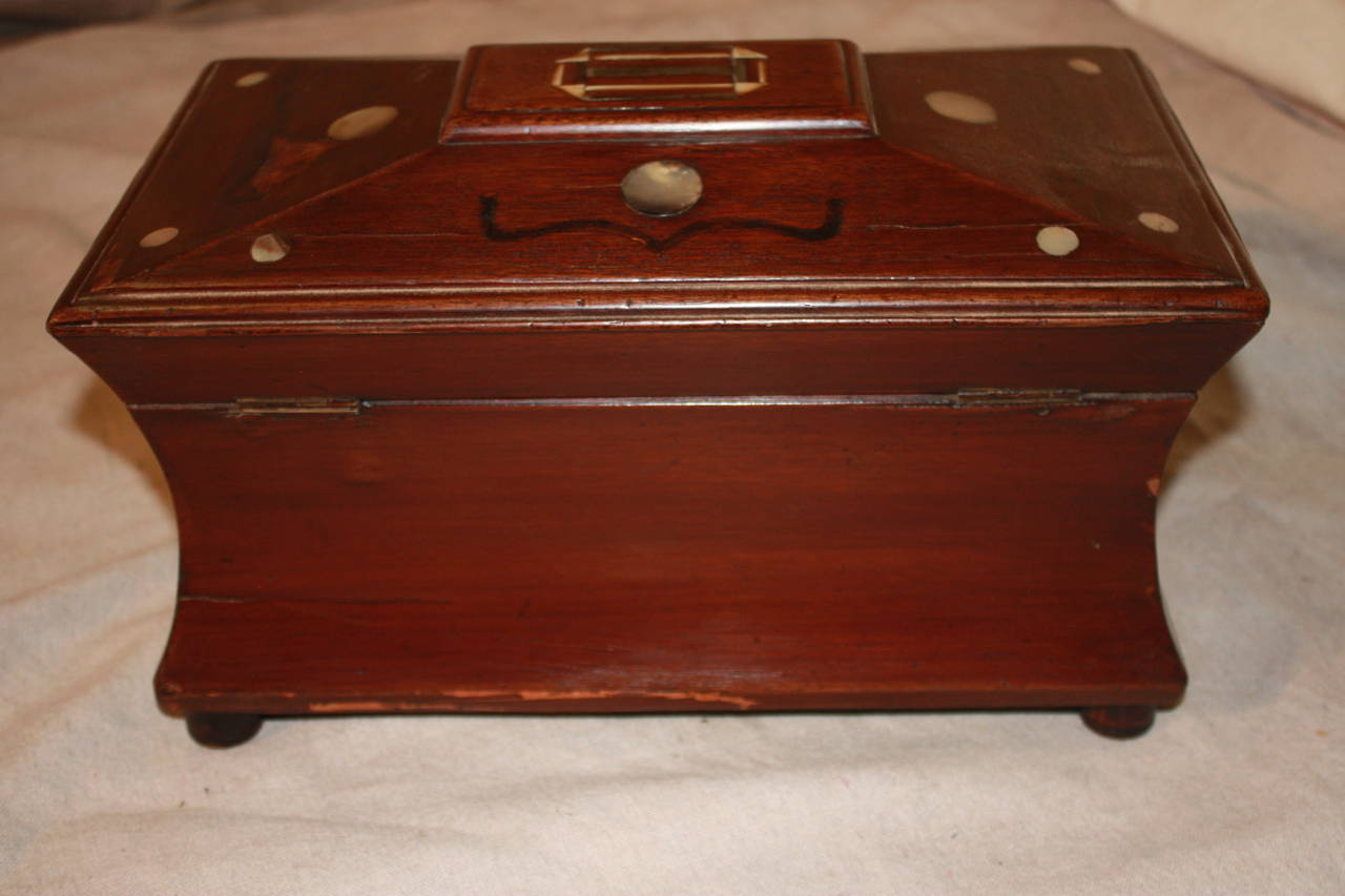 19th century French jewelry box, the wood is in mahogany.