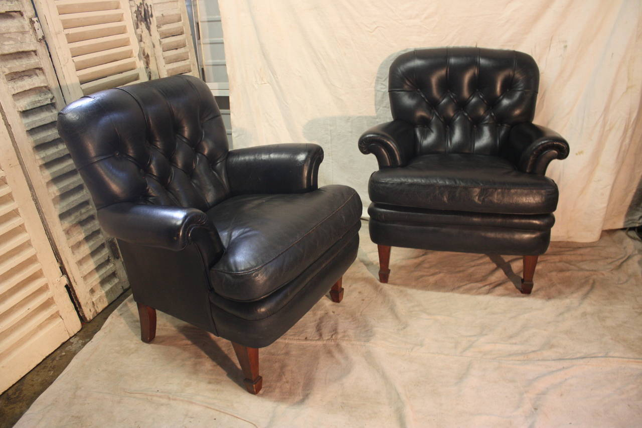 charming pair of black leather club chairs mid 20th century english