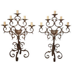 Pair of 19th Century, French Iron Candelabra