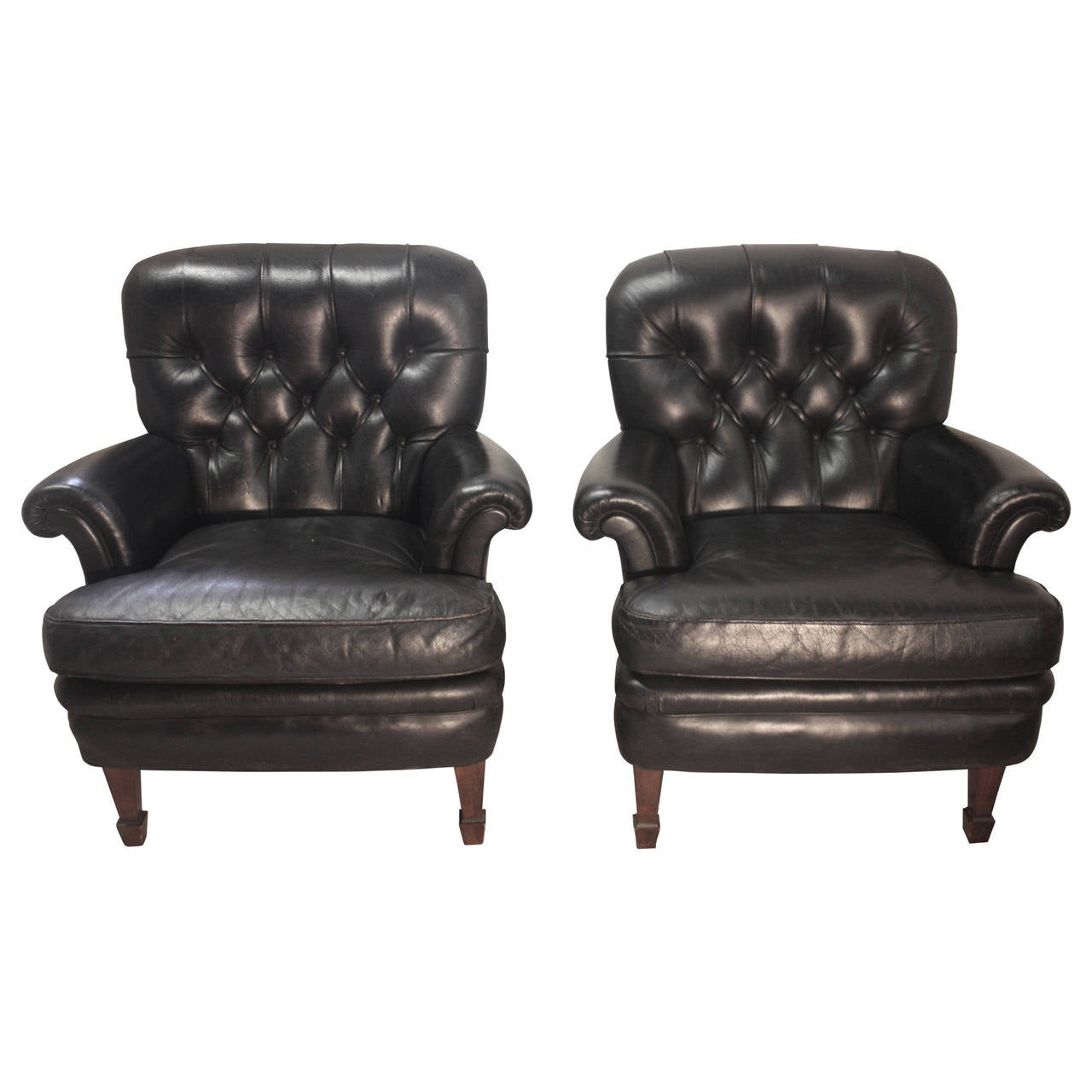 black leather club chair pair of black leather club chairs at 1stdibs 4730